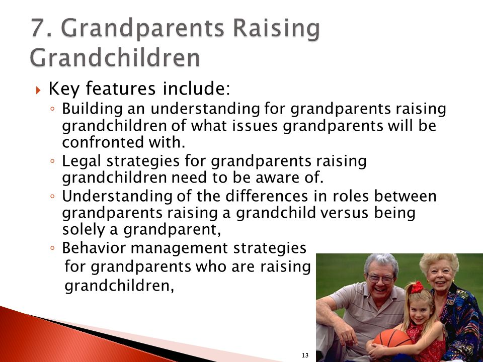  Key features include: ◦ Building an understanding for grandparents raising grandchildren of what issues grandparents will be confronted with.