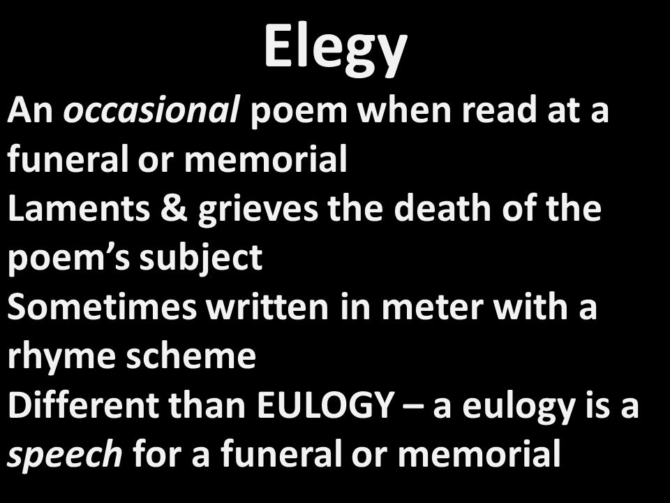 Panegyric Poem of praise & tribute Related to eulogy & ode Highly praises the subject of the poem Ben Johnson wrote a panegyric praising William Shakespeare.