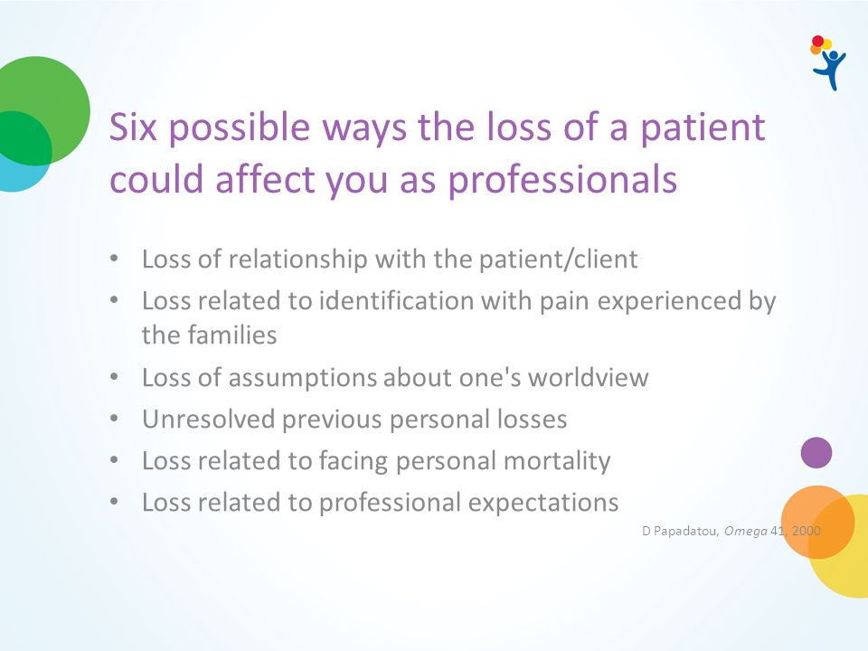 Six possible ways the loss of a patient could affect you as professionals Loss of relationship with the patient/client Loss related to identification