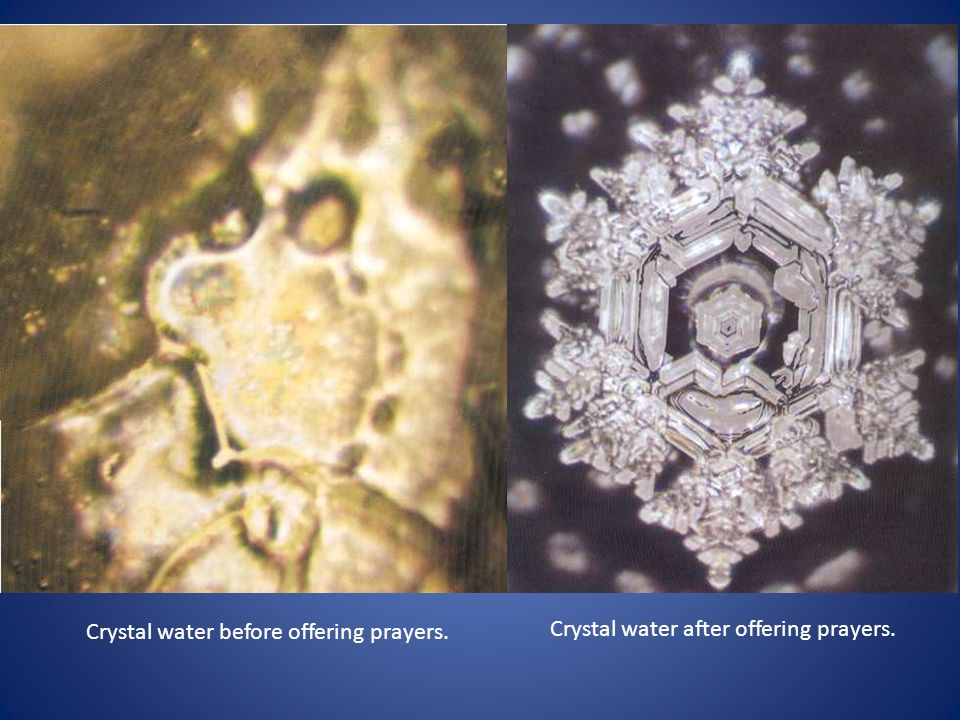Crystal water before offering prayers. Crystal water after offering prayers.