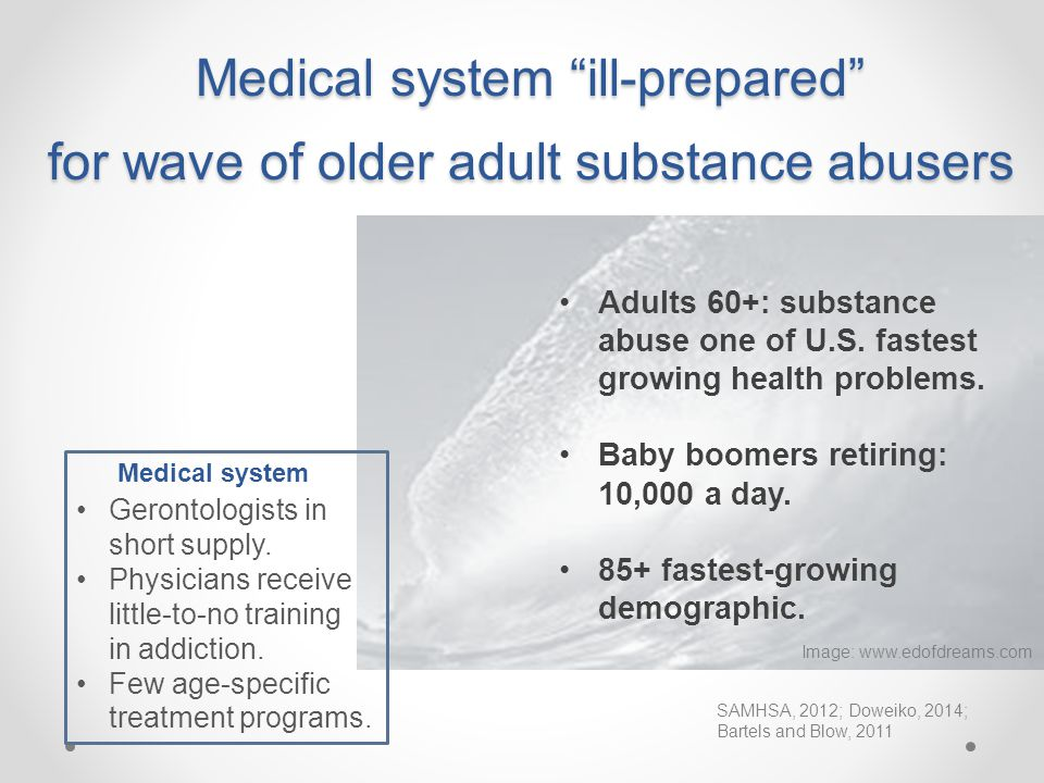 Medical system ill-prepared for wave of older adult substance abusers comin Image: www.edofdreams.com Adults 60+: substance abuse one of U.S.