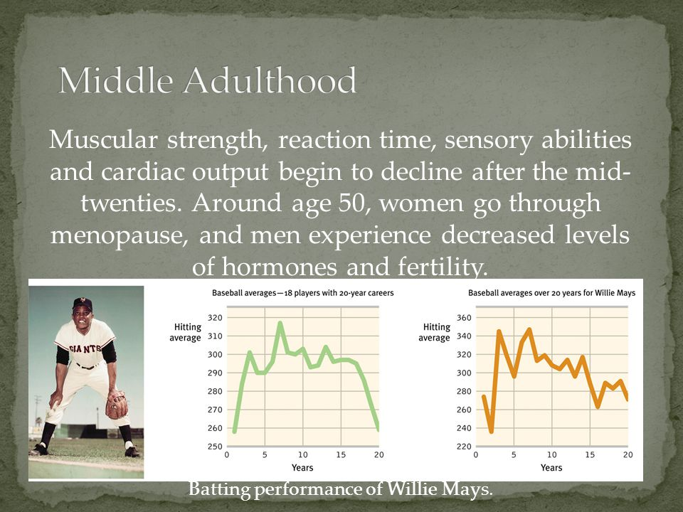 Muscular strength, reaction time, sensory abilities and cardiac output begin to decline after the mid- twenties. Around age 50, women go through menop