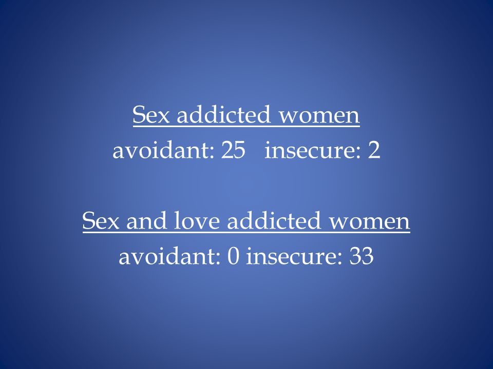 Sex addicted women avoidant: 25 insecure: 2 Sex and love addicted women avoidant: 0 insecure: 33