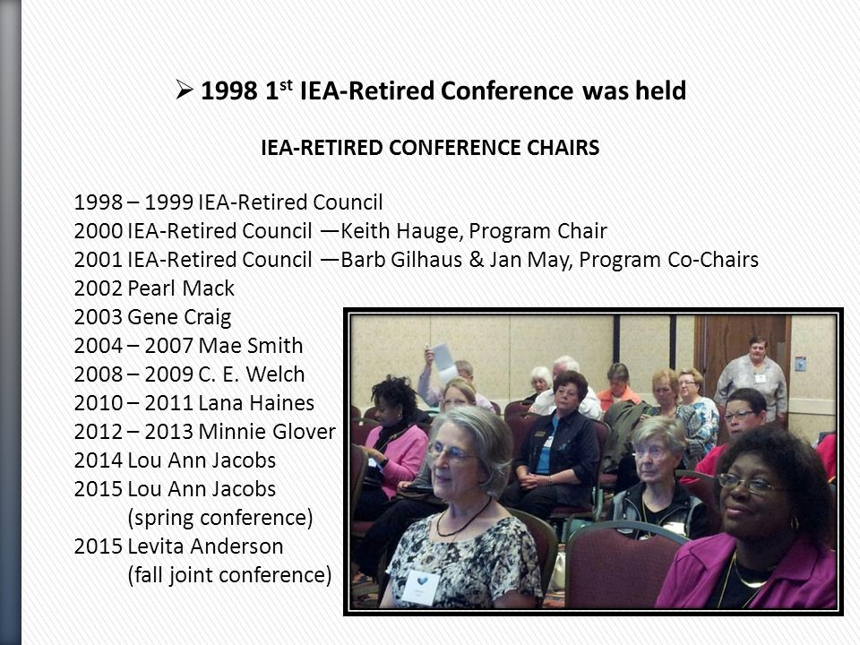  1998 1 st IEA-Retired Conference was held IEA-RETIRED CONFERENCE CHAIRS 1998 – 1999 IEA-Retired Council 2000 IEA-Retired Council —Keith Hauge, Program Chair 2001 IEA-Retired Council —Barb Gilhaus & Jan May, Program Co-Chairs 2002 Pearl Mack 2003 Gene Craig 2004 – 2007 Mae Smith 2008 – 2009 C.