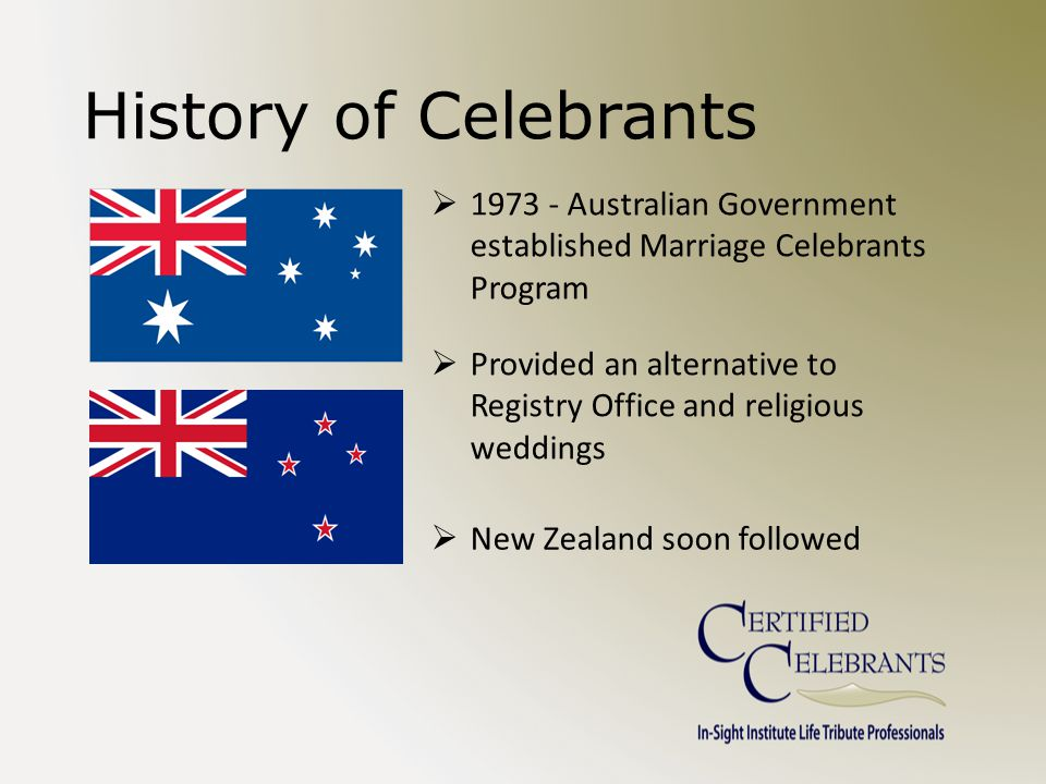 History of Celebrants  1973 - Australian Government established Marriage Celebrants Program  Provided an alternative to Registry Office and religious weddings  New Zealand soon followed