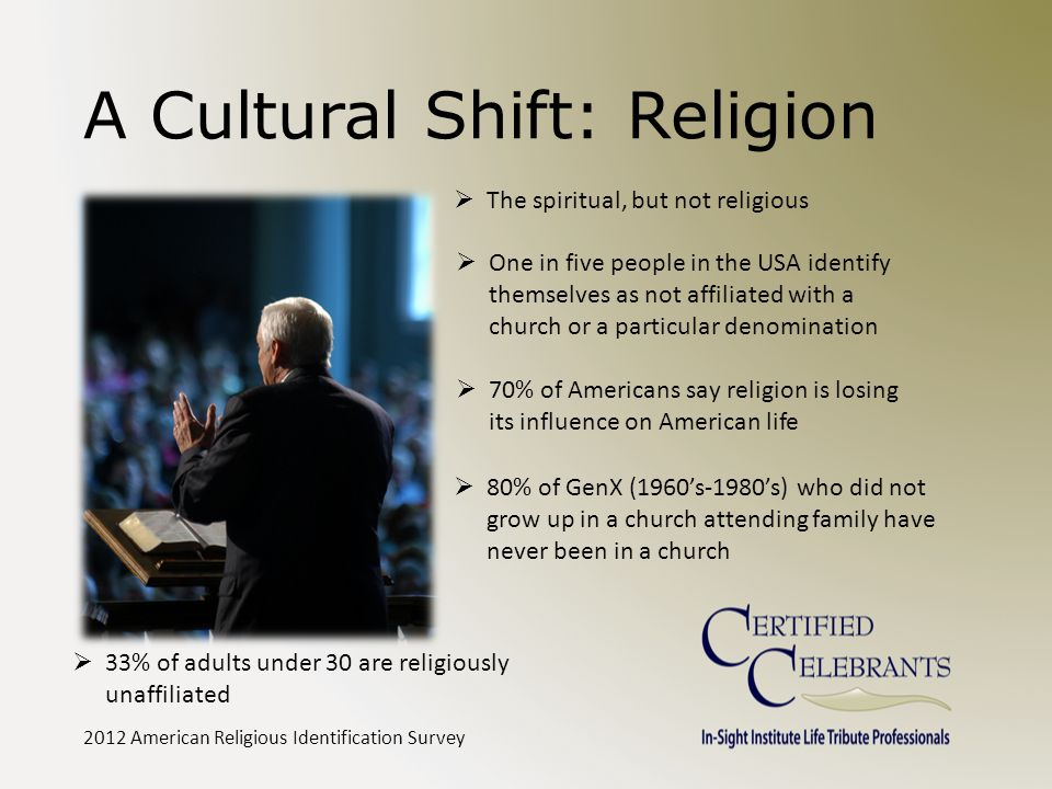 A Cultural Shift: Religion  The spiritual, but not religious  One in five people in the USA identify themselves as not affiliated with a church or a particular denomination  70% of Americans say religion is losing its influence on American life 2012 American Religious Identification Survey  80% of GenX (1960's-1980's) who did not grow up in a church attending family have never been in a church  33% of adults under 30 are religiously unaffiliated