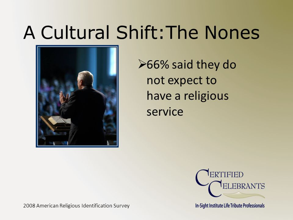 A Cultural Shift:The Nones  66% said they do not expect to have a religious service 2008 American Religious Identification Survey