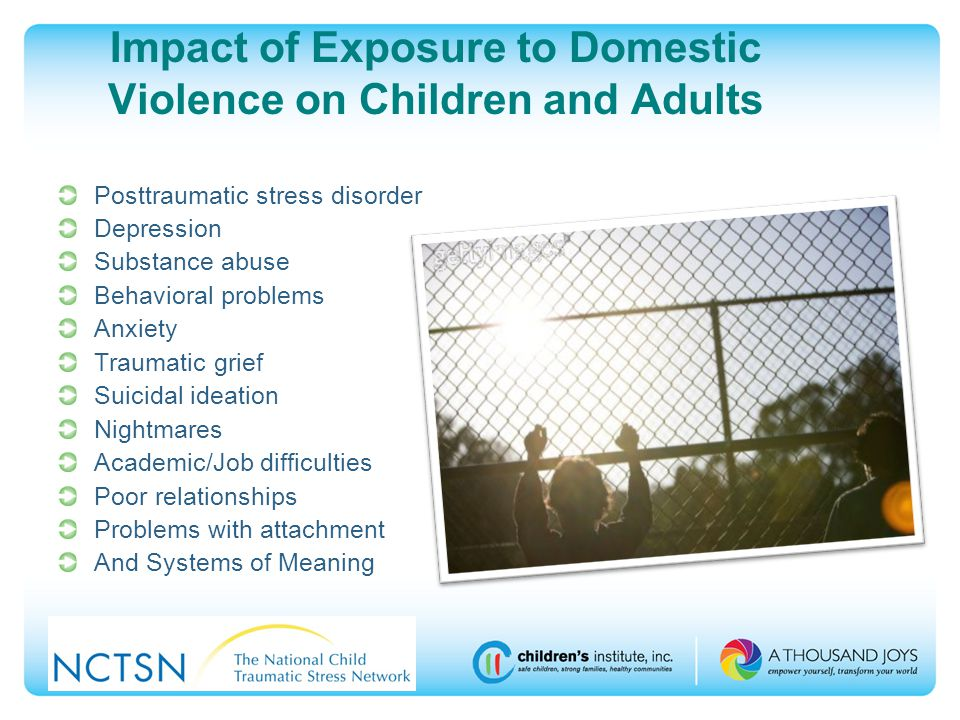 Impact of Exposure to Domestic Violence on Children and Adults Posttraumatic stress disorder Depression Substance abuse Behavioral problems Anxiety Traumatic grief Suicidal ideation Nightmares Academic/Job difficulties Poor relationships Problems with attachment And Systems of Meaning