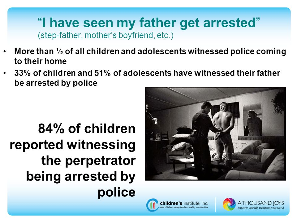 I have seen my father get arrested (step-father, mother's boyfriend, etc.) 84% of children reported witnessing the perpetrator being arrested by police More than ½ of all children and adolescents witnessed police coming to their home 33% of children and 51% of adolescents have witnessed their father be arrested by police