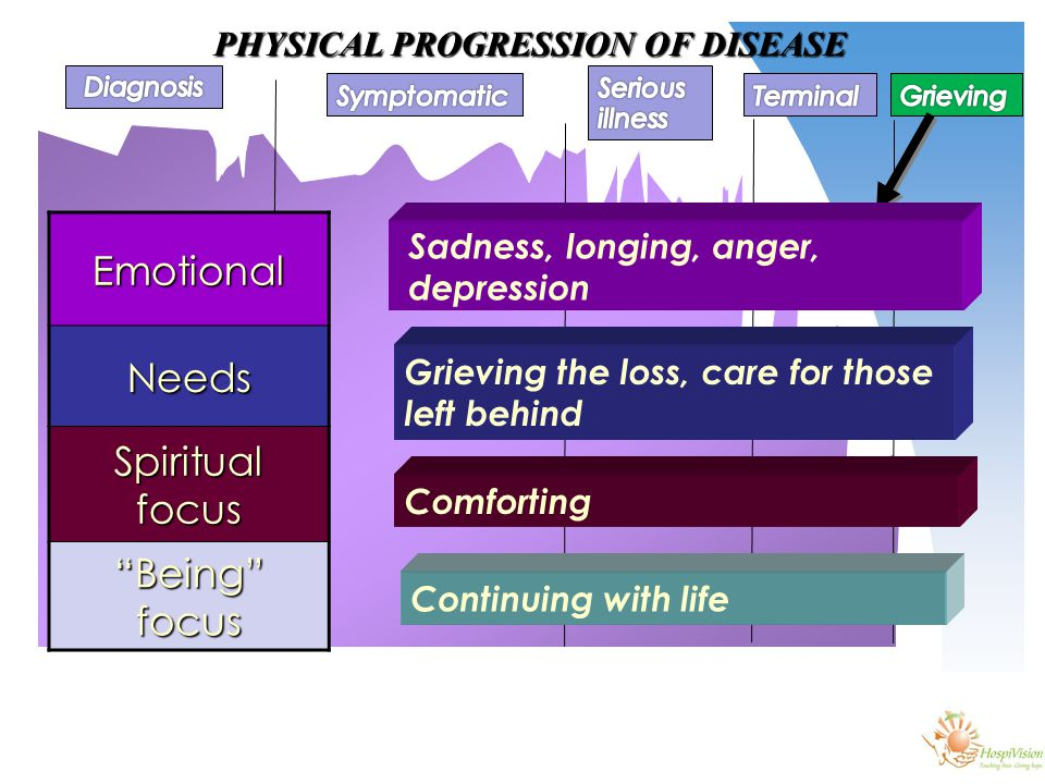 PHYSICAL PROGRESSION OF DISEASE EmotionalNeeds Spiritual focus Being focus Sadness, longing, anger, depression Grieving the loss, care for those left behind Comforting Continuing with life