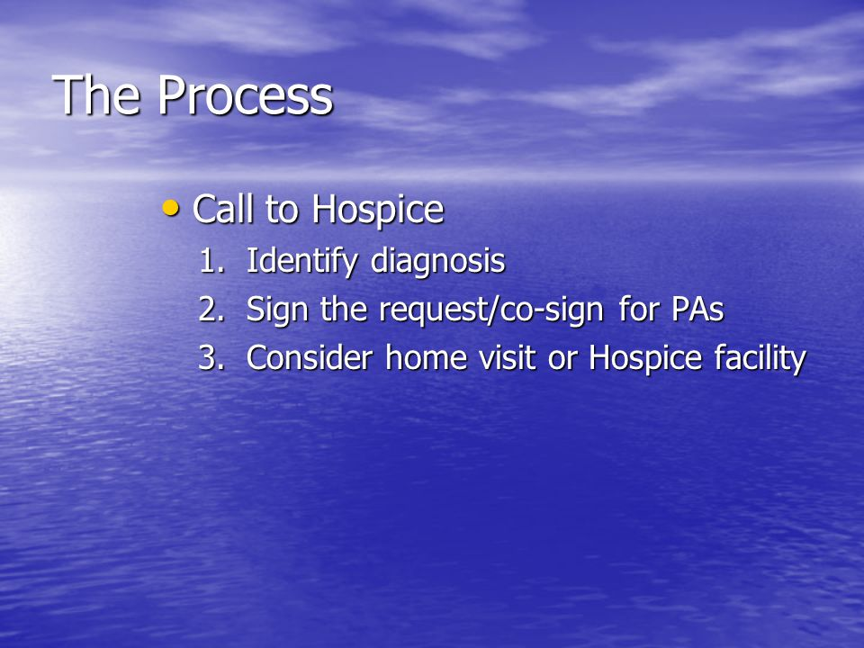 The Process Call to Hospice Call to Hospice 1.Identify diagnosis 2.Sign the request/co-sign for PAs 3.Consider home visit or Hospice facility