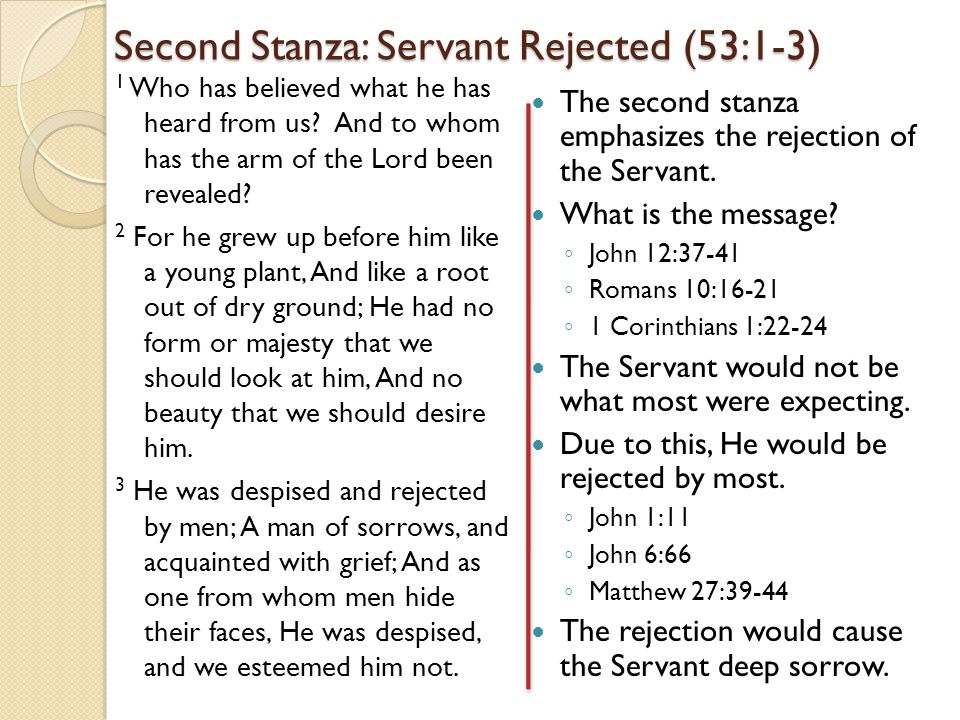 Second Stanza: Servant Rejected (53:1-3) 1 Who has believed what he has heard from us.