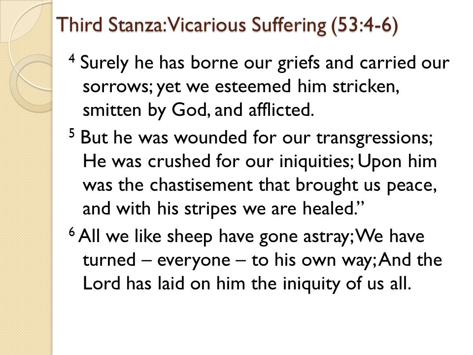 Third Stanza: Vicarious Suffering (53:4-6) 4 Surely he has borne our griefs and carried our sorrows; yet we esteemed him stricken, smitten by God, and afflicted.