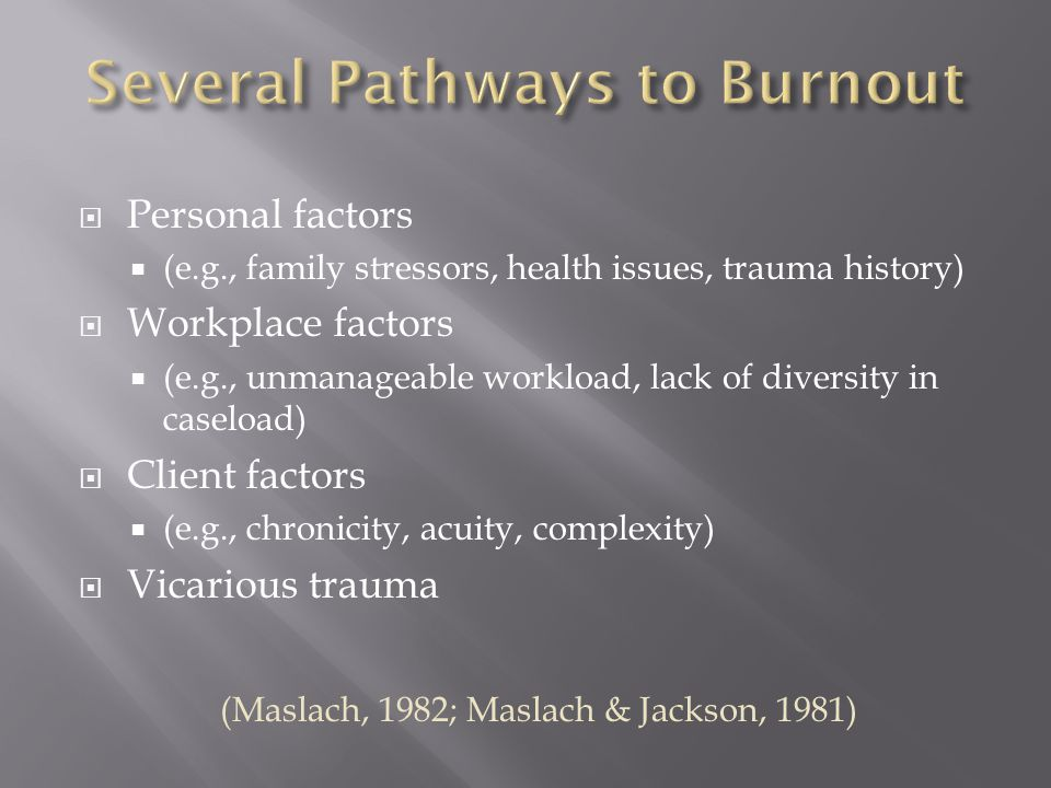  Personal factors  (e.g., family stressors, health issues, trauma history)  Workplace factors  (e.g., unmanageable workload, lack of diversity in caseload)  Client factors  (e.g., chronicity, acuity, complexity)  Vicarious trauma (Maslach, 1982; Maslach & Jackson, 1981)