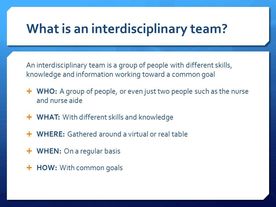 What is an interdisciplinary team.