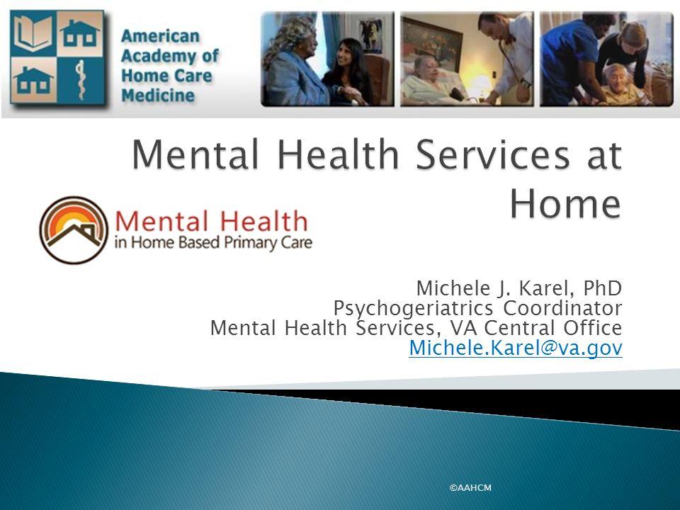 Michele J. Karel, PhD Psychogeriatrics Coordinator Mental Health Services, VA Central Office Michele.Karel@va.gov ©AAHCM