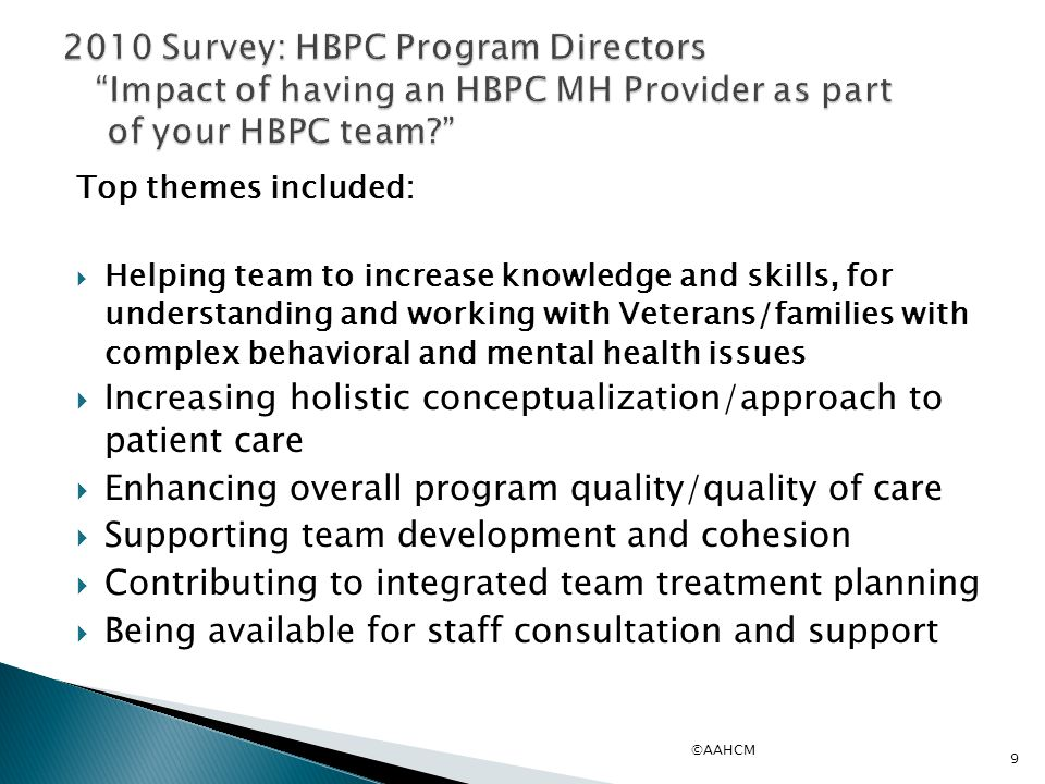 Top themes included:  Helping team to increase knowledge and skills, for understanding and working with Veterans/families with complex behavioral and