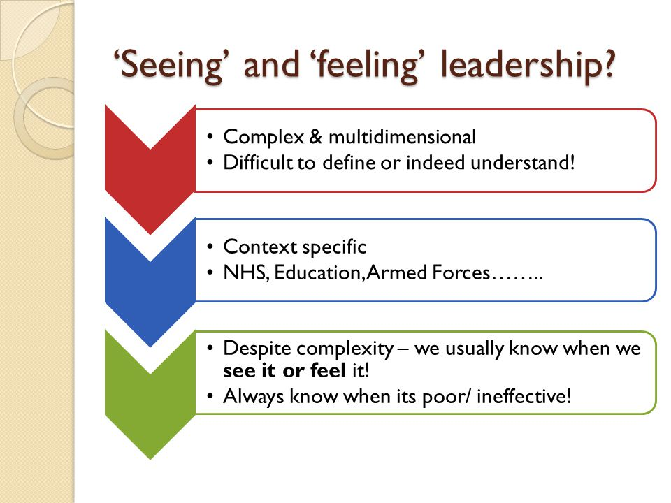 'Seeing' and 'feeling' leadership.