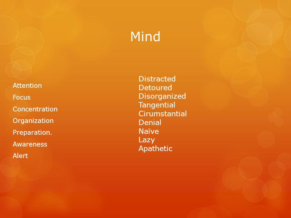 Mind Attention Focus Concentration Organization Preparation.