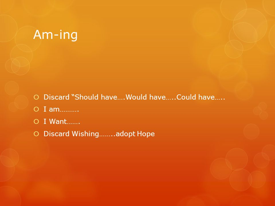 Am-ing  Discard Should have….Would have…..Could have…..