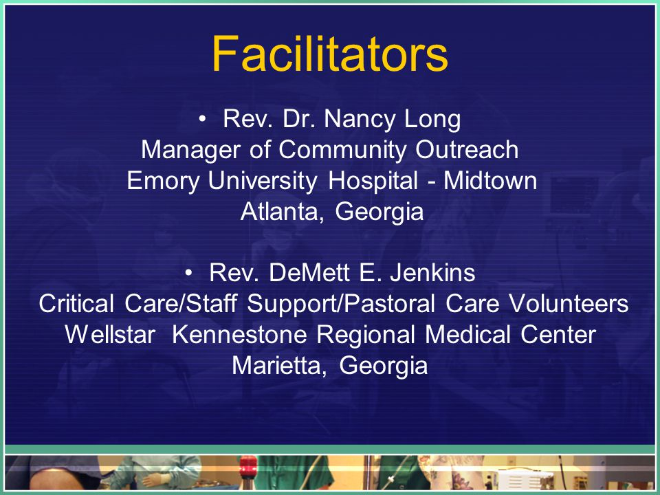 Facilitators Rev. Dr.