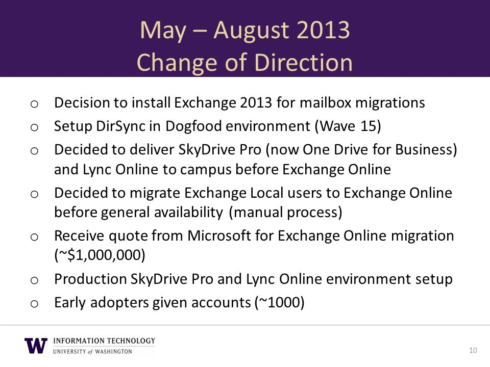 May – August 2013 Change of Direction o Decision to install Exchange 2013 for mailbox migrations o Setup DirSync in Dogfood environment (Wave 15) o De