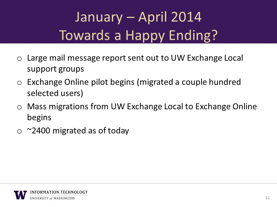 January – April 2014 Towards a Happy Ending? o Large mail message report sent out to UW Exchange Local support groups o Exchange Online pilot begins (