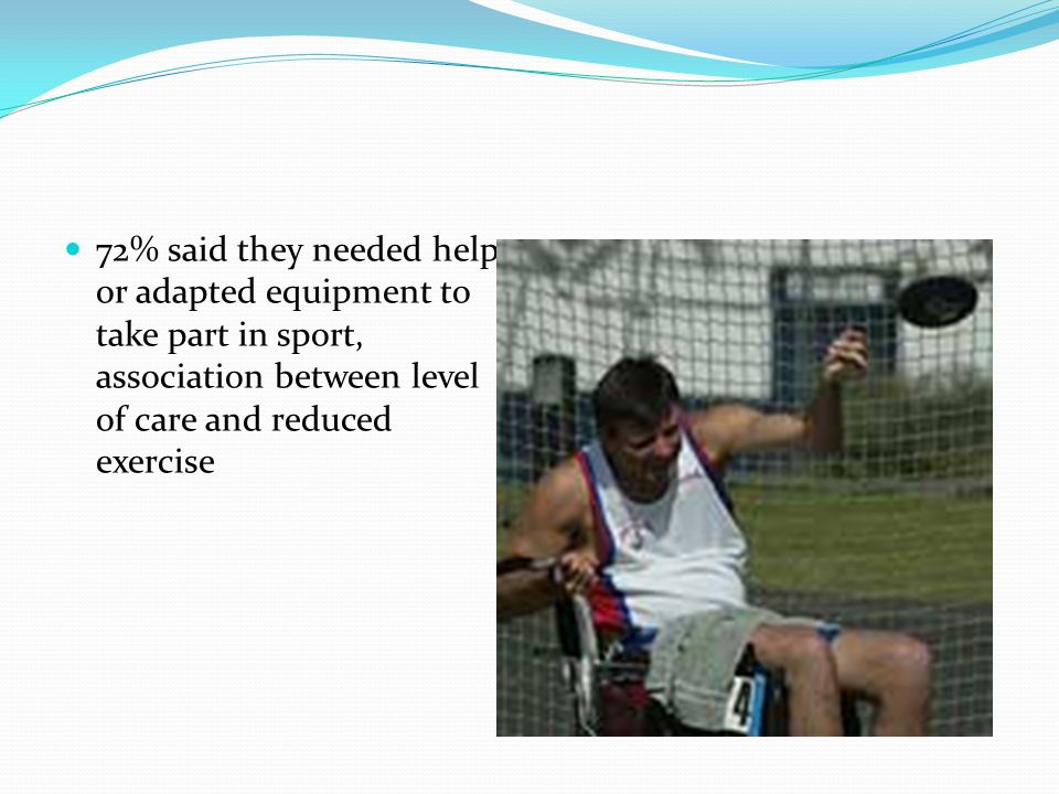 72% said they needed help or adapted equipment to take part in sport, association between level of care and reduced exercise