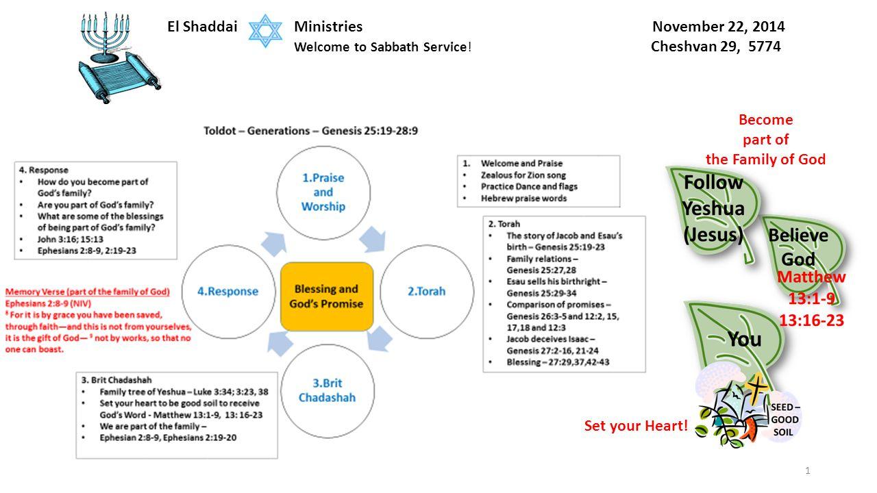 1 El Shaddai Ministries November 22, 2014 Welcome to Sabbath Service.