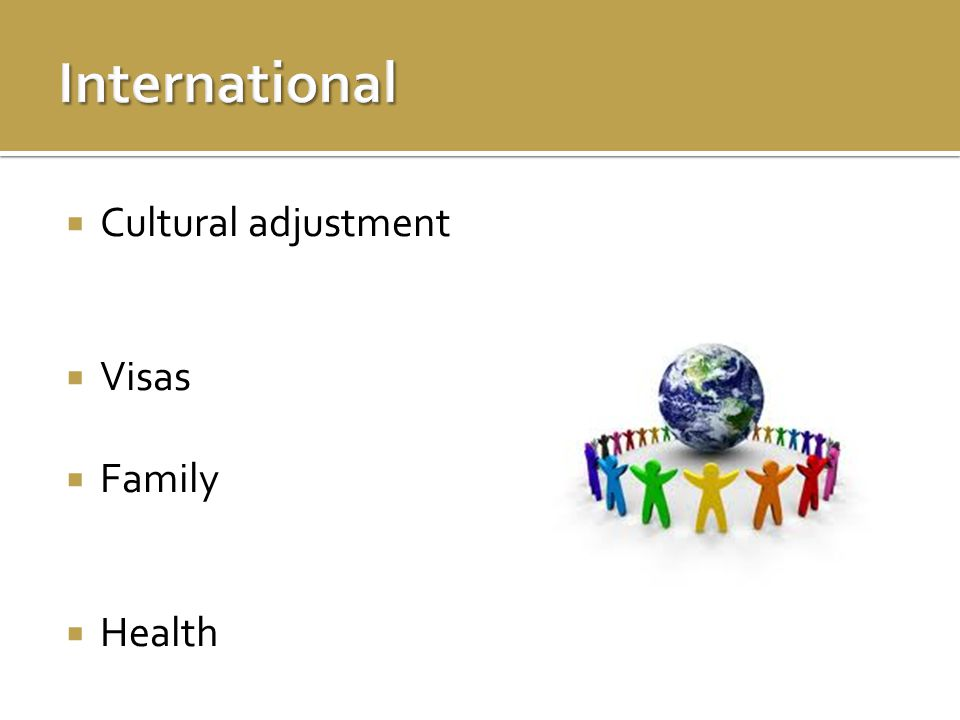  Cultural adjustment  Visas  Family  Health