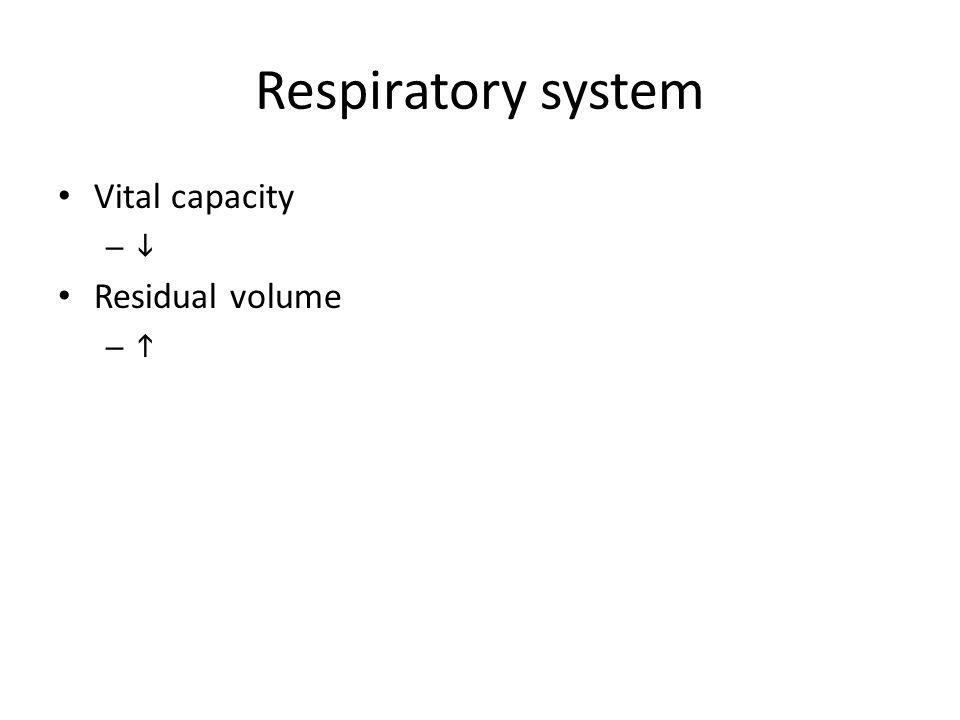 Respiratory system Vital capacity –  Residual volume – 