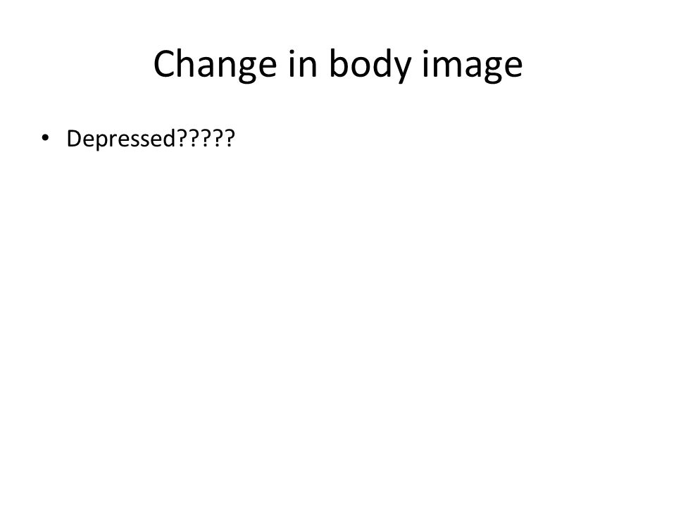 Change in body image Depressed