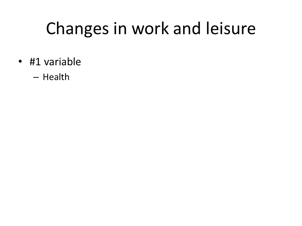 Changes in work and leisure #1 variable – Health