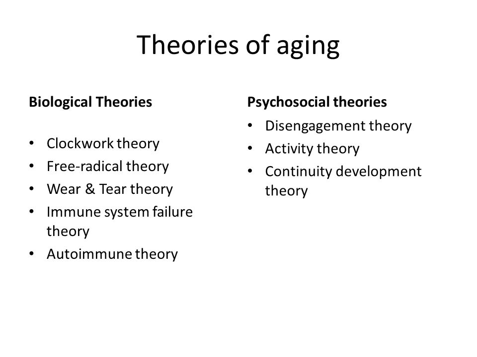 Theories of aging Biological Theories Clockwork theory Free-radical theory Wear & Tear theory Immune system failure theory Autoimmune theory Psychosocial theories Disengagement theory Activity theory Continuity development theory