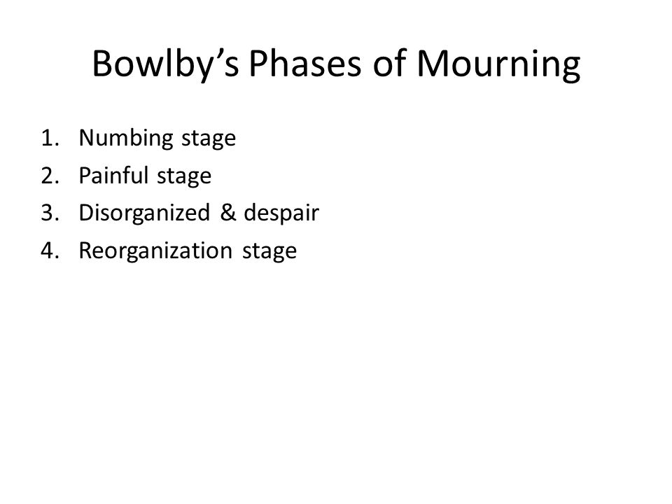 Bowlby's Phases of Mourning 1.Numbing stage 2.Painful stage 3.Disorganized & despair 4.Reorganization stage
