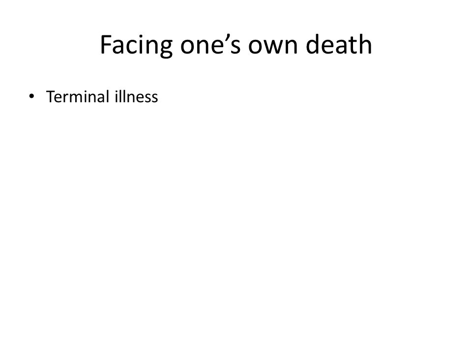 Facing one's own death Terminal illness