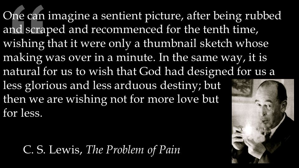 """ C. S. Lewis, The Problem of Pain One can imagine a sentient picture, after being rubbed and scraped and recommenced for the tenth time, wishing that"