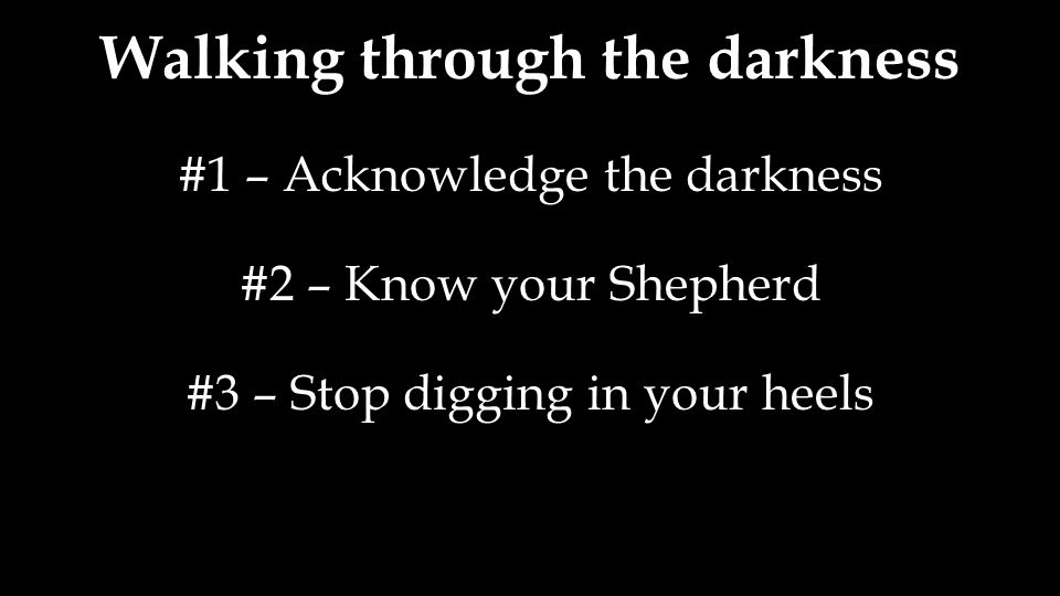 Walking through the darkness #1 – Acknowledge the darkness #2 – Know your Shepherd #3 – Stop digging in your heels