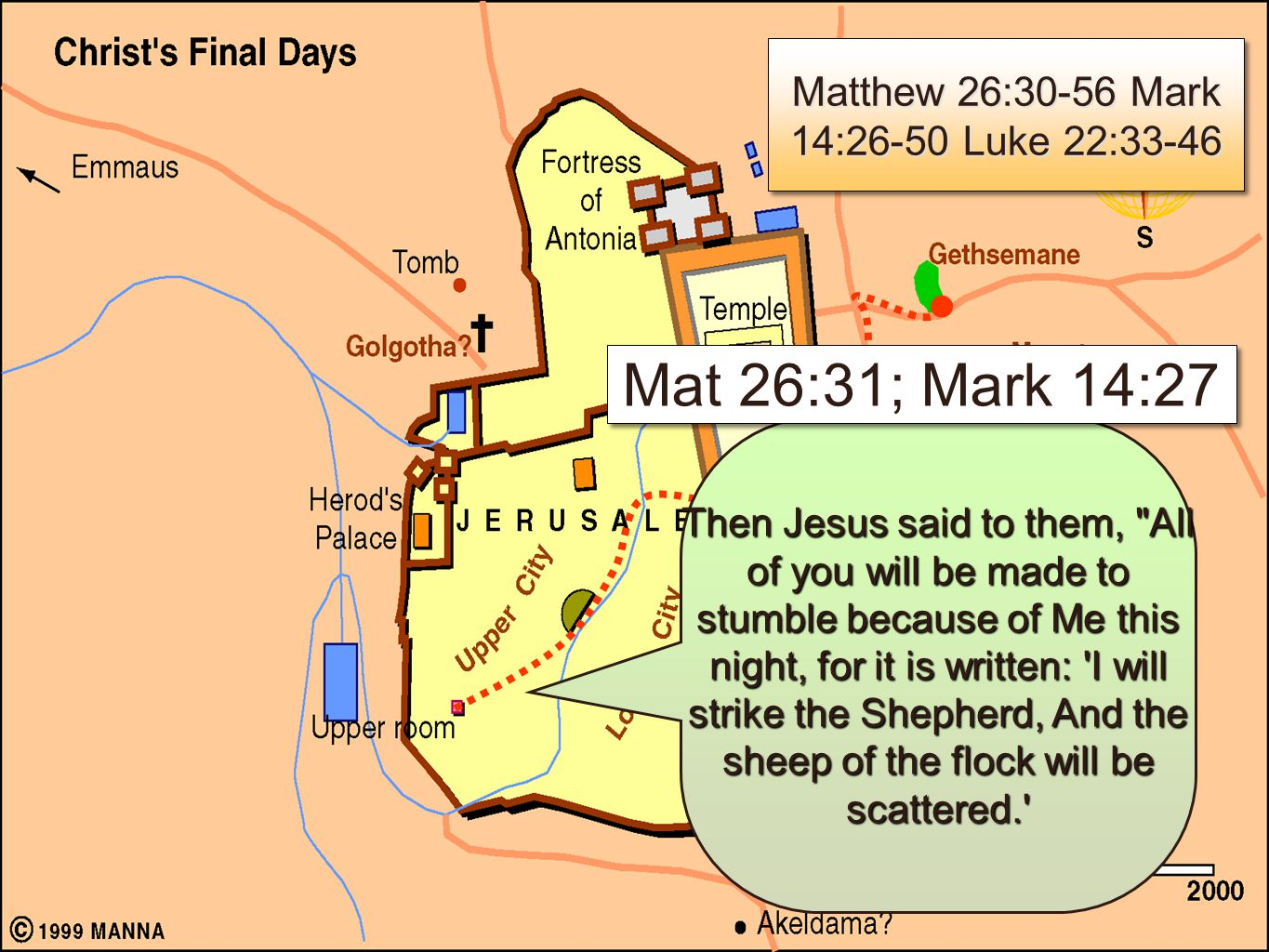 6 Jesus speaks of His death & resurrection - Mat 26:31,32; Mark 14:27,28 Peter affirms his loyalty, even to death - Mat 26:33; Mark 14:29; Luke 22:33 Jesus foretells Peter's denial and Peter & the other apostles reaffirmation - Mat 26:34,35; Mark 14:30:31; Luke 22:31-34; John 13:38 Needed supplies - Luke 22:35-38 Jesus speaks of His death & resurrection - Mat 26:31,32; Mark 14:27,28 Peter affirms his loyalty, even to death - Mat 26:33; Mark 14:29; Luke 22:33 Jesus foretells Peter's denial and Peter & the other apostles reaffirmation - Mat 26:34,35; Mark 14:30:31; Luke 22:31-34; John 13:38 Needed supplies - Luke 22:35-38 Mat 26:31-35; Mark 14:27-31; Luke 22:33-38 Mat 26:31-35; Mark 14:27-31; Luke 22:33-38 Matthew 26:30-56 Mark 14:26-50 Luke 22:33-46