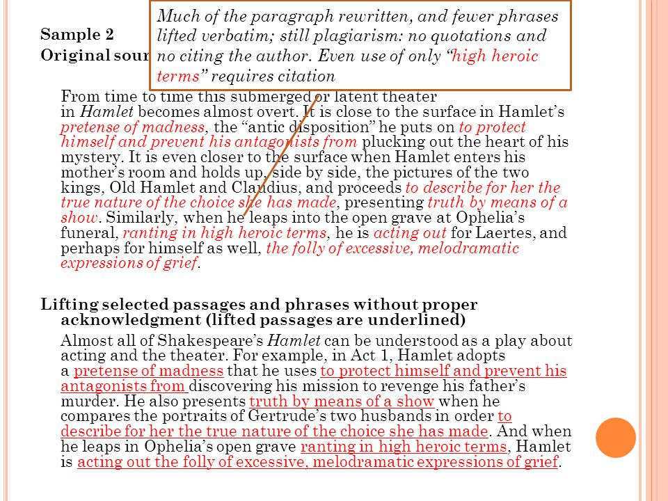 Sample 2 Original source (text) From time to time this submerged or latent theater in Hamlet becomes almost overt.