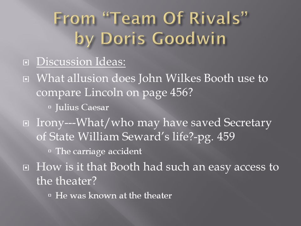  Discussion Ideas:  What allusion does John Wilkes Booth use to compare Lincoln on page 456.