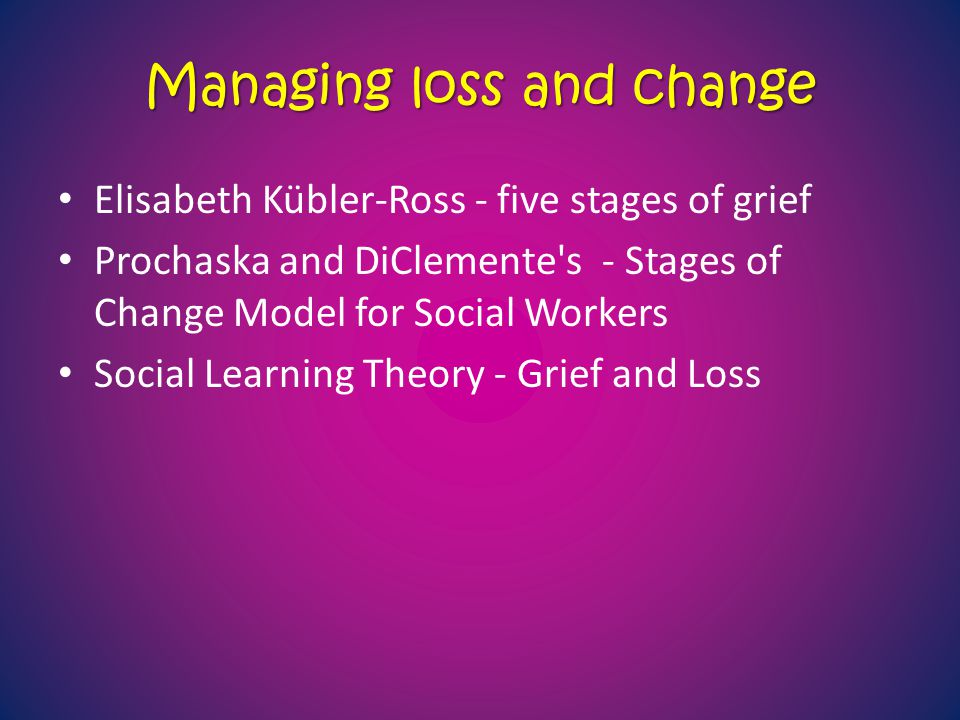 Managing loss and change Elisabeth Kübler-Ross - five stages of grief Prochaska and DiClemente's - Stages of Change Model for Social Workers Social Le