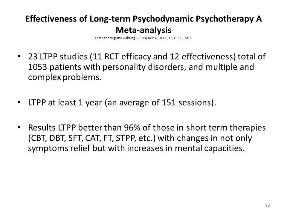 Effectiveness of Long-term Psychodynamic Psychotherapy A Meta-analysis Leichsenring and Rabung (2008) JAMA, 3000,13,1551-1565. 23 LTPP studies (11 RCT