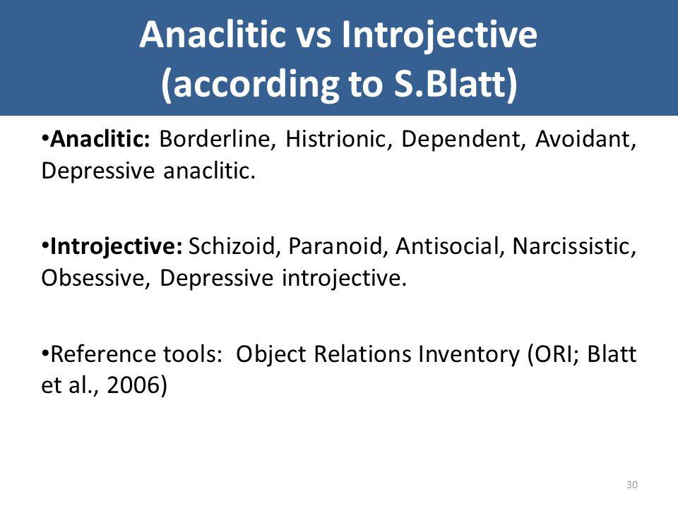 Anaclitic vs Introjective (according to S.Blatt) Anaclitic: Borderline, Histrionic, Dependent, Avoidant, Depressive anaclitic. Introjective: Schizoid,
