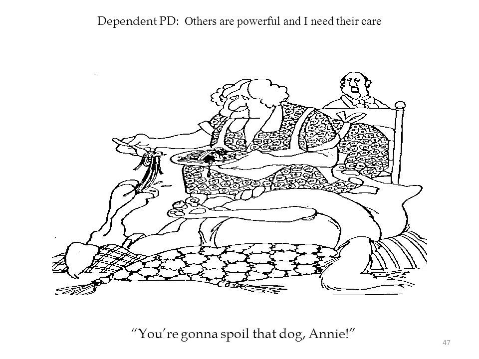 """Dependent PD: Others are powerful and I need their care """"You're gonna spoil that dog, Annie!"""" 47"""