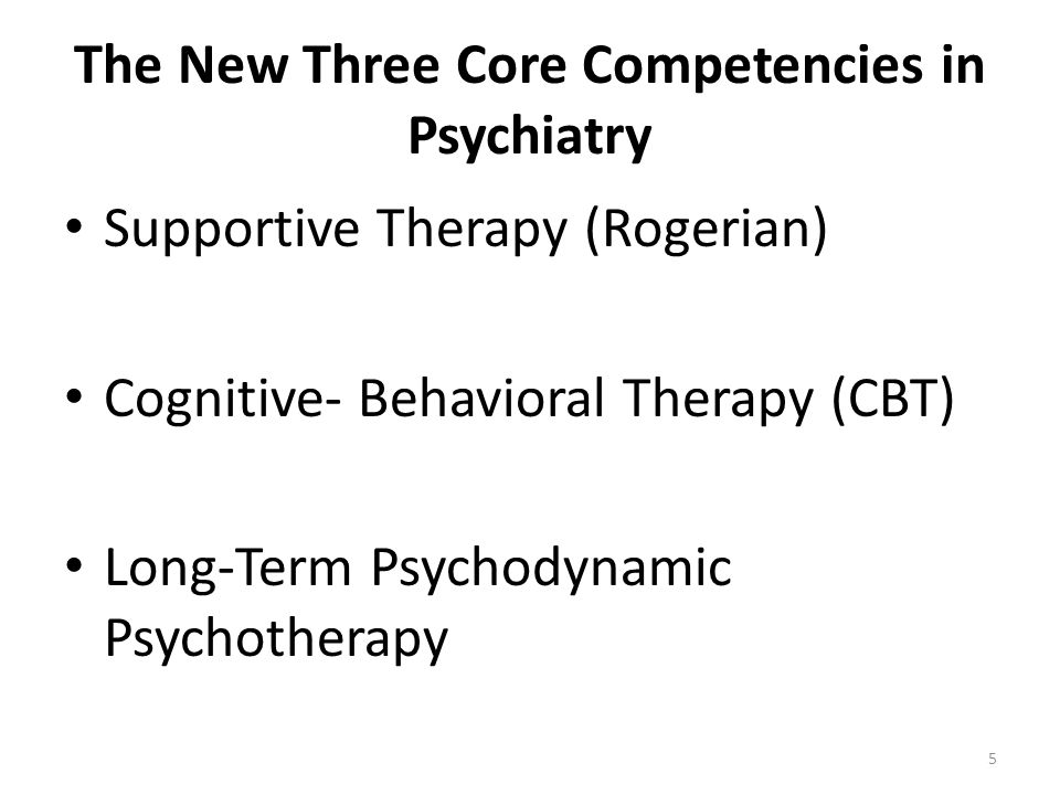 The New Three Core Competencies in Psychiatry Supportive Therapy (Rogerian) Cognitive- Behavioral Therapy (CBT) Long-Term Psychodynamic Psychotherapy