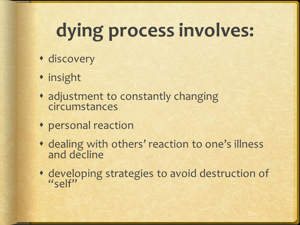 dying process involves:  discovery  insight  adjustment to constantly changing circumstances  personal reaction  dealing with others' reaction to one's illness and decline  developing strategies to avoid destruction of self