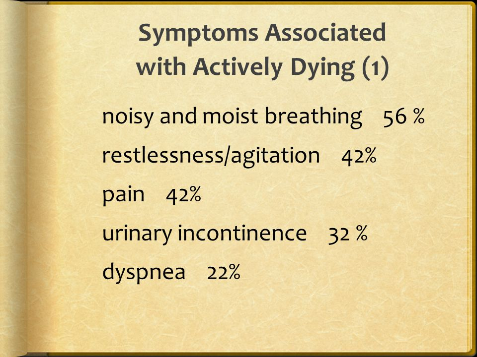 Symptoms Associated with Actively Dying (1) noisy and moist breathing 56 % restlessness/agitation 42% pain 42% urinary incontinence 32 % dyspnea 22%