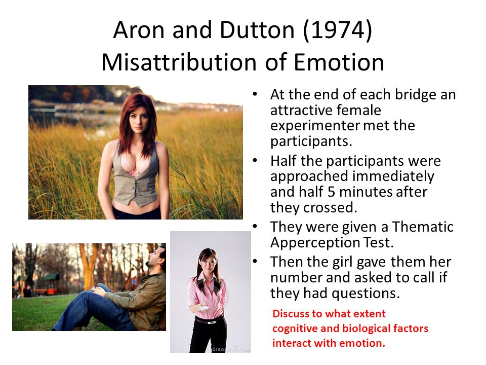 Aron and Dutton (1974) Misattribution of Emotion At the end of each bridge an attractive female experimenter met the participants.