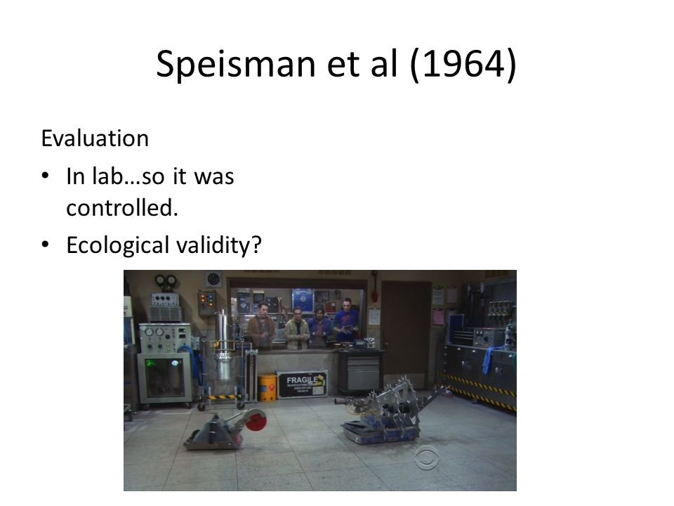Speisman et al (1964) Evaluation In lab…so it was controlled. Ecological validity?